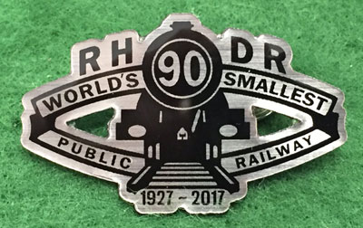 Romney, Hythe & Dymchurch Railway 90 years badge